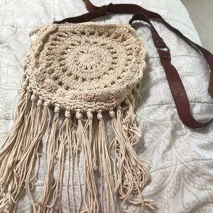 Cream crouched purse